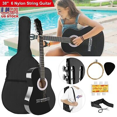 "39"" Beginners Acoustic Guitar with Guitar Case Strap Tuner Pick Steel Strings"