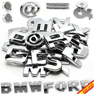 Letters Numbers Letters Chrome Silver Adhesive Silver 3D Alphabet Car Car