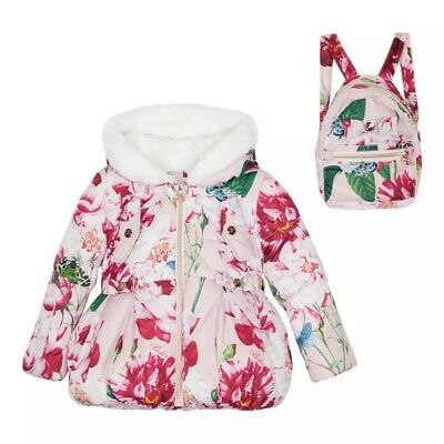 Ted BakerGirls' Pink Floral Coat and Backpack Set Age 4-5 BNWT