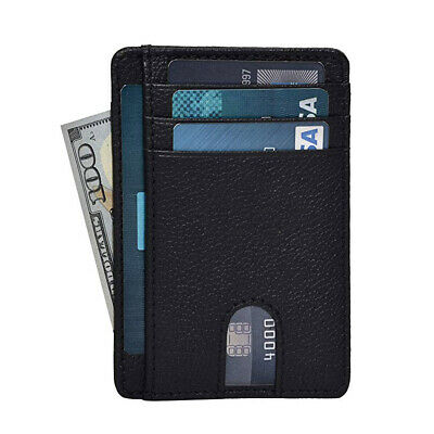 New Genuine Leather Slim Card Holder Wallets For Men - Minimalist RFID Blocking