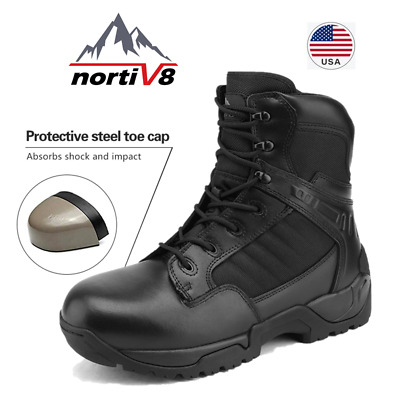 NORTIV 8 Men's Steel Toe Safety Boots Military Tactical Outdoors Work Boots US
