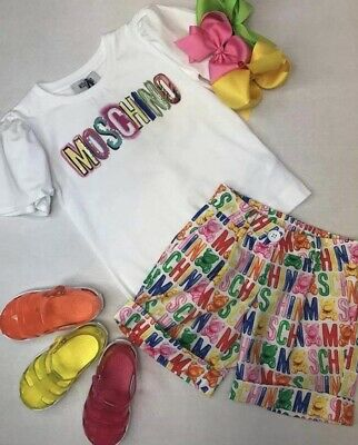 Moschino Top And Shorts Set Age 14  Bnwt Summer 2019 Rrp £196 Shoes/bows Not Inc