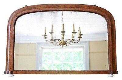 Antique large Victorian burr walnut wall mirror overmantle C1890