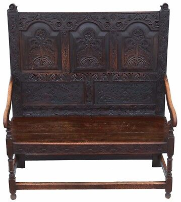 Antique small Georgian carved oak settle bench seat 18th Century