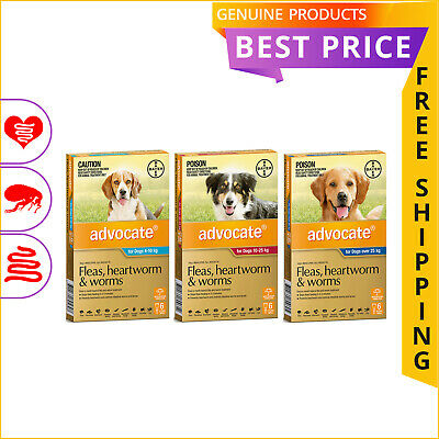 ADVOCATE 6 Doses for Dogs Monthly Heartworm Flea Worm Prevention FREE SHIPPING