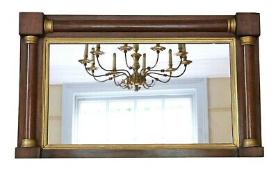 Antique fine quality Regency mahogany and gilt overmantle or wall mirror C1825