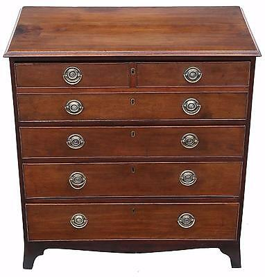 Antique Georgian Regency elm secretaire desk writing chest of drawers