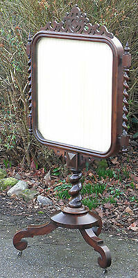 Antique quality Victorian rosewood silk glass fire screen