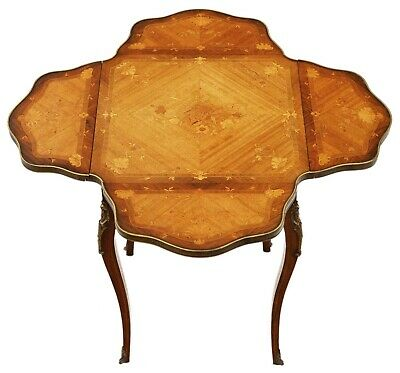 Antique fine quality C1900-1920 folding marquetry centre side occasional table
