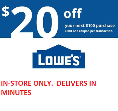 LOOK!!!! ONE (1X) $20 off $100 Lowes 1coupon IN STORE ONLY!!!