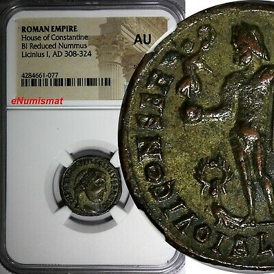 ROMAN EMPIRE LICINIUS I  AD 308-324  BI REDUCED NUMMUS  NGC AU House Constantine