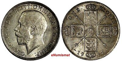 GREAT BRITAIN George V (1910-1936) Silver 1917 1 FLORIN  aUNC KM# 817 S-4013