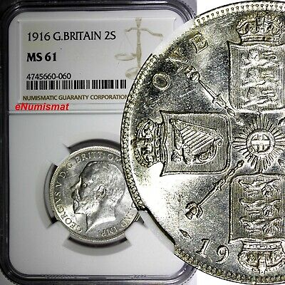 GREAT BRITAIN George V (1910-1936) Silver 1916 1 FLORIN NGC MS61 KM# 817