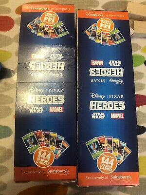 2 Boxes Sainsburys Heroes Cards Pixar Marvel Disney Star Wars Approx 360 Packs