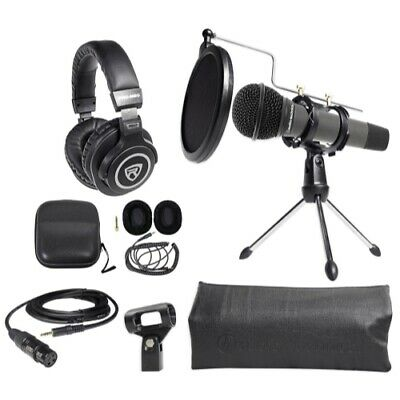 Audio Technica 1-Person PC Podcasting Podcast Bundle Microphone+Stand+Headphones