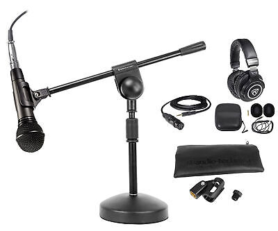 Audio Technica ATM510 PC Podcasting Podcast Microphone+Boom Stand+Headphones