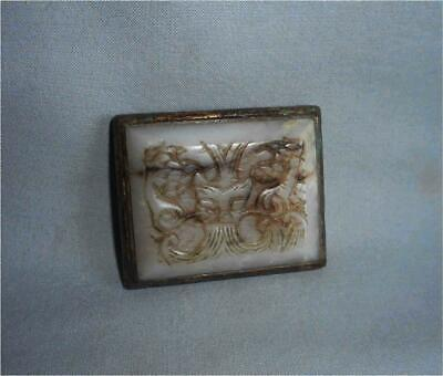 Antique China TOP HIGH AGED MING GILT BELT BUCKLE WITH HAN DYNASTY JADE CARVING