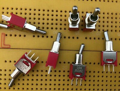 6A SPTT Toggle Switch Flat Lever Latch On-Off-(On) Momentary MS-500D Multi Qty