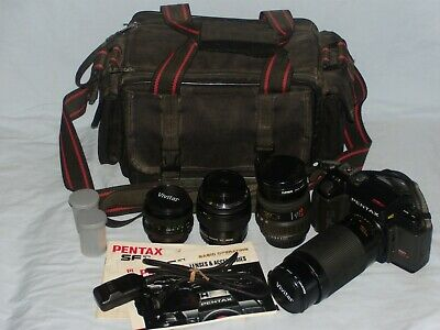 Pentax SF1 35mm SLR Film Camera w/ Extra Lens & Accessories
