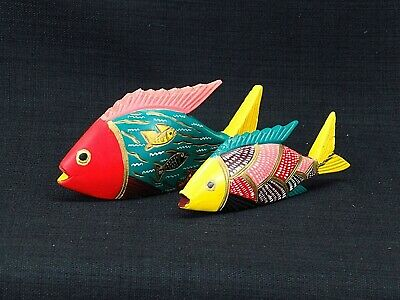 2 Folk Art Artisan Hand Carved And Colorfully Painted Oaxacan Mexican Wood Fish