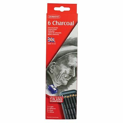 Derwent Charcoal Drawing Pencils, Set of 6 with Sharpener, Professional Quali...
