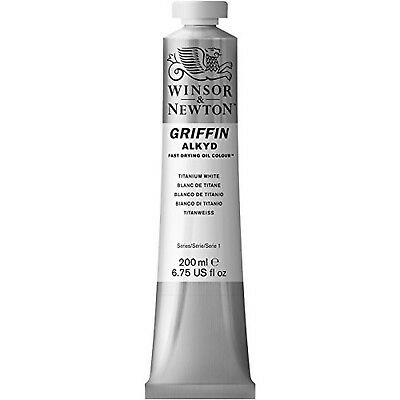 Winsor & Newton Griffin 200ml Alkyd Fast Drying Oil Colour Tube - Titanium Wh...