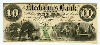 1854 $10 The Mechanics Bank of Memphis, TENNESSEE Note CU