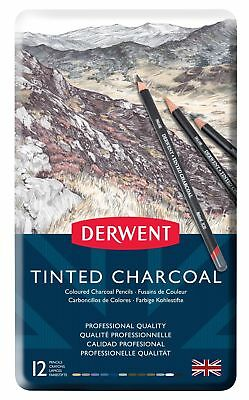 Derwent Tinted Charcoal Drawing Pencils, Set of 12, Watersoluble, Professiona...