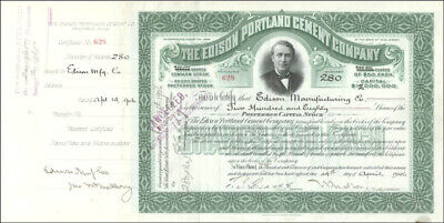 Thomas A. Edison - Stock Certificate Endorsed 10/02/1906 With Co-Signers