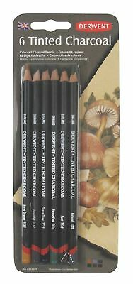 Derwent Tinted Charcoal Drawing Pencils, Set of 6, Watersoluble, Professional...