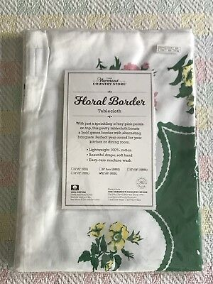 "Vermont Country Store Spring Summer Tablecloth 62"" X 90"" Floral Border NEW"