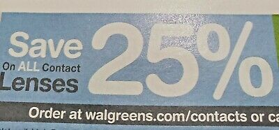Walgreens Contact Lenses Coupon 25% Off Savings Save Promo Code Exp 6/2020 Deal
