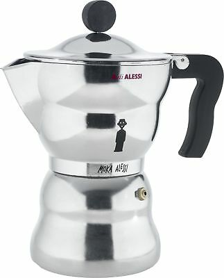 Alessi 6-Cup Moka Espresso Coffee Maker with Thermoplastic Resin Handle and K...