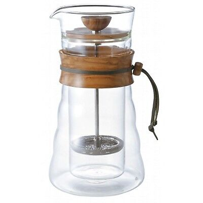 Hario 400 ml Olive Wood Double Wall Coffee Press Cafetiere