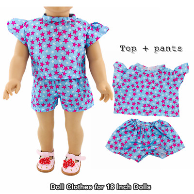 Doll Clothes Fashion Accessories Star Pattern Top Shorts Suit for 18 Inch Dolls