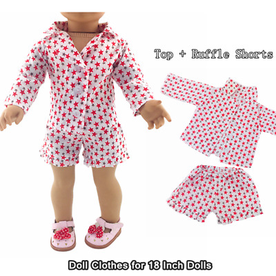 Doll Clothes Fashion Accessories Top Ruffle Shorts Clothes Suit for 18inch Dolls