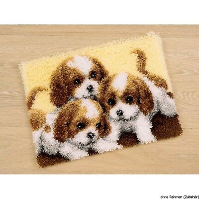 Vervaco Three Puppies Latch Hook Rug Kit, Multi-Colour