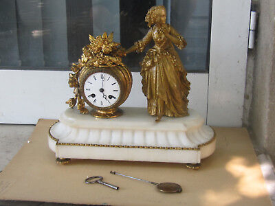 Gorgeous Antique French Figural White Marble Mantle Clock JAPY FRERES 19 C.