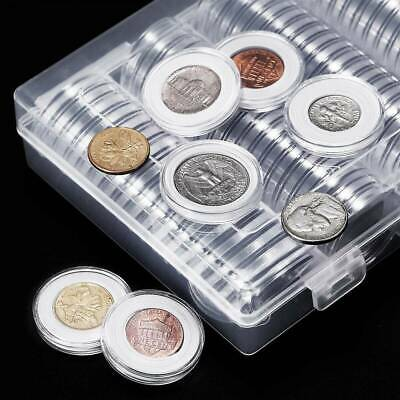 100 Coin Collection Cases Capsules Holder Applied Clear Round Storage Album-Book