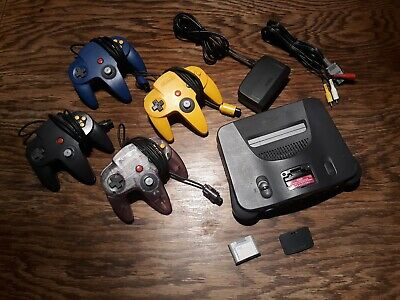 N64 Nintendo 64 Console + 4 OEM Controllers + Cords + Memory Card - Adult Owned