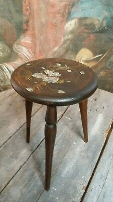 Small charming painted wooden stool decorative