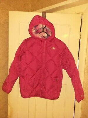 Girls North Face Pink Down Reversible Coat USA Sz 18 XL Suit Age 15 16 Yr