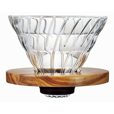 Hario 1-4-Cup Olive Wood V60 Dripper Plus Measuring Scoop, Glass, Transparent...