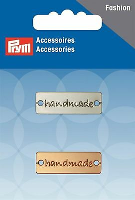 "Prym ""Handmade Sew-On Tabs/Charms, Metal, Silver/Gold, 2-Piece"