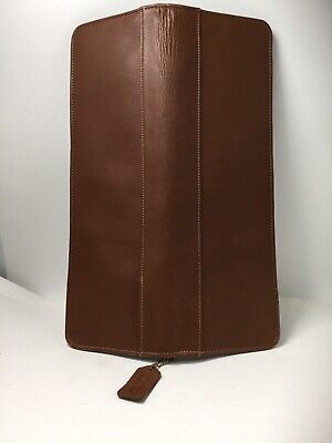 Authentic Coach Mens Travel Tie Case Holder Brown Tan Leather Zippered