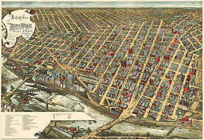 Minneapolis, Minnesota - 1891 - Aerial Bird's Eye View Map Poster