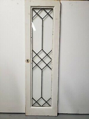 Antique Cabinet Door Leaded Glass Architectural Salvage