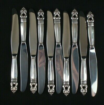 "Set of 10 International Silver Royal Danish Sterling Handle Modern 8-7/8"" Knives"