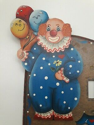 Vintage 80s Handmade Wood Circus Clown Light Switch Plate Cover