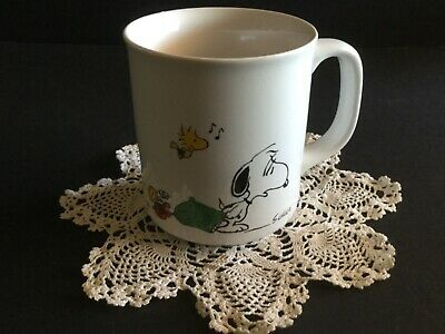 Snoopy Mug- I Think I'm Allergic To Morning - Coffee Cup Peanuts Vintage 1965